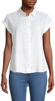 Pure Navy High-Low Linen Shirt