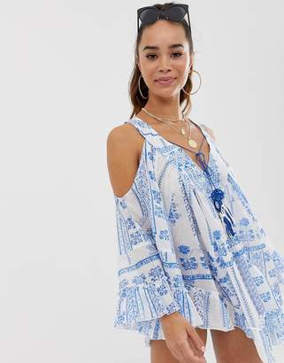Asos Design DESIGN Cold Shoulder Tile Print Beach Dress With Mirror Trim Detail-Multi