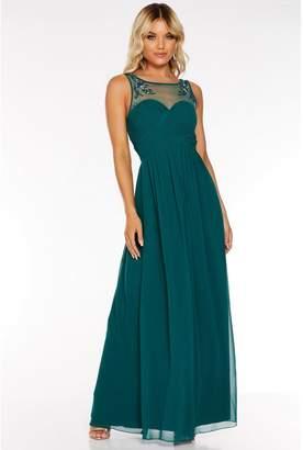 Quiz Teal Chiffon Embellished Mesh Maxi Dress