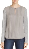 Elie Tahari Sima Mixed Media Blouse