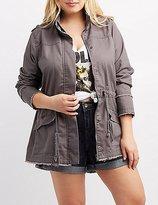 Charlotte Russe Plus Size Frayed Drawstring Anorak Jacket