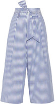By Malene Birger Bennih Cropped Striped Cotton-poplin Wide-leg Pants - Blue