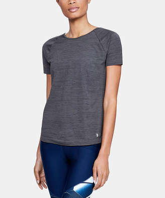 Under Armour Women's Tee Shirts BLACK - Black Seamless Low-Back Space-Dye Tee - Women