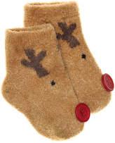 Mud Pie Girls Reindeer Infant Ankle Socks -Light Brown