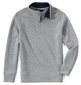 Classic Boys Half-zip Mock Pullover-Gray Heather
