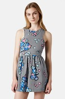 Topshop Petite Women's Floral Gingham Skater Dress