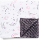 28'' x 28'' White Bunny Hop & Ash Minky Receiving Blanket