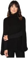 Halston Long Slit Sleeve Poncho Sweater with Fringe