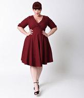 Unique Vintage Plus Size 1950s Style Burgundy Red Delores Swing Dress