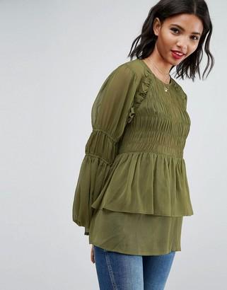 Asos Design Sheer Crinkle Blouse With Poets Sleeve-Green