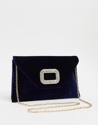 Asos Design DESIGN diamante buckle clutch bag with detachable strap-Navy
