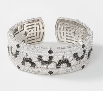 Judith Ripka Sterling Silver Floral Gemstone & Diamonique Cuff