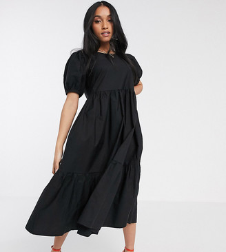 Y.A.S tiered smock midi dress with puff sleeve in black