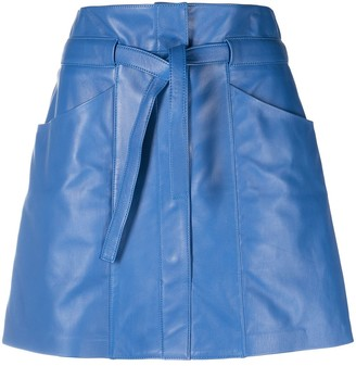 Isabel Marant belted A-line lambskin skirt