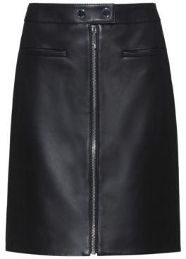 HUGO A-line leather skirt with centre-front zip
