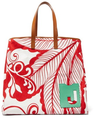 La DoubleJ Big Mama Printed Canvas And Leather Tote Bag - Red White