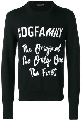 Dolce & Gabbana #DGFamily print jumper