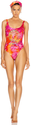 Versace Logo One Piece Swimsuit in Fuchsia & Orange | FWRD