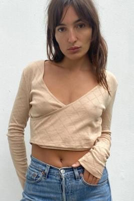 Out From Under Aubrey Cosy Wrap Top - Beige XS at Urban Outfitters