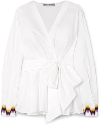Mary Katrantzou Orla Embroidered Cotton-blend Poplin Wrap Top