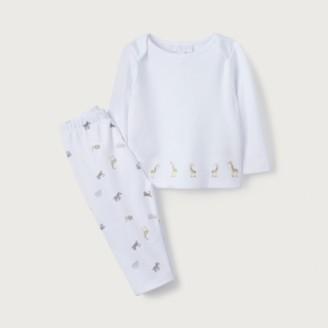 The White Company Organic-Cotton Safari Giraffe Pyjamas, White, 12-18mths