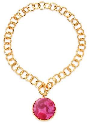 Nest 22K Goldplated & Magenta Agate Pendant Hammered Link Necklace