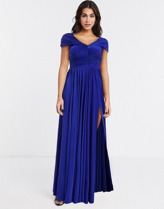 Goddiva bardot maxi dress in purple
