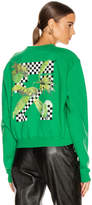 Off-White Off White Racing Crewneck Sweater in Green & Black | FWRD
