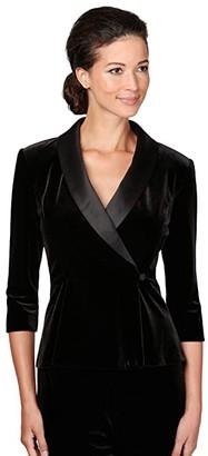Alex Evenings Petite 3/4 Sleeve Side Closure Blouse (Black) Women's Clothing