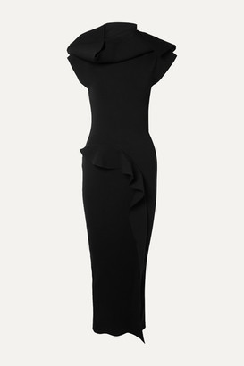Rick Owens Nona Open-back Ruffled Stretch-jersey Maxi Dress - Black