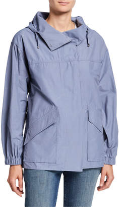 Eileen Fisher Plus Size Organic Cotton/Nylon Button-Front Hooded Shirttail-Hem Jacket