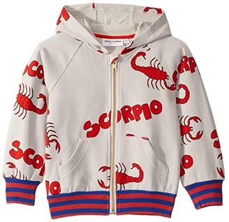 Mini Rodini Scorpio All Over Print Zip Hoodie (Toddler/Little Kids/Big Kids) (Grey) Kid's Clothing