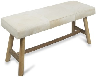 Home & Giftware Two Seater Cow Hide Bench