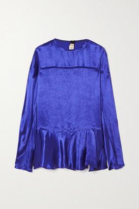 Marni Frayed Ruffled Cupro-satin Blouse - Blue