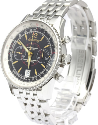 Breitling Black Stainless Steel Navitimer Montbrillant A48330 Men's Wristwatch 42 MM