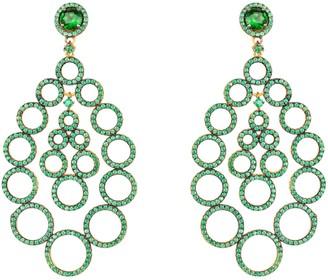 Latelita Circles Teardrop Large Statement Earrings Green Cz