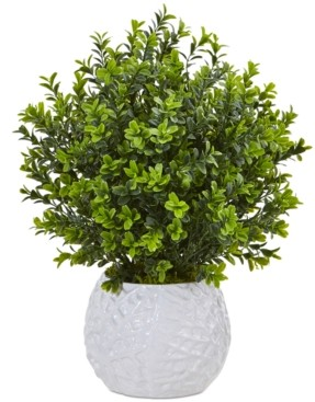Nearly Natural Boxwood Evergreen Indoor/Outdoor Artificial Plant in White Vase