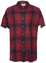 Topman Red Check Oversized Short Sleeve Casual Shirt
