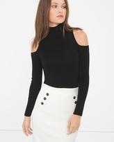White House Black Market Cold-Shoulder Mock Neck Sweater