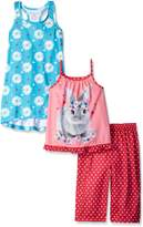 Komar Kids Big Girls 3 Piece Sleepwear Rabbit Pant Set with Floral Gown