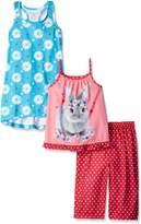 Komar Kids Big Girls 3 Piece Sleepwear Rabbit Pant Set with Floral Gown