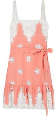 Miguelina Mindy Crochet-trimmed Cotton-voile Mini Dress