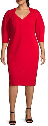 Calvin Klein Plus V-Neck Sheath Dress