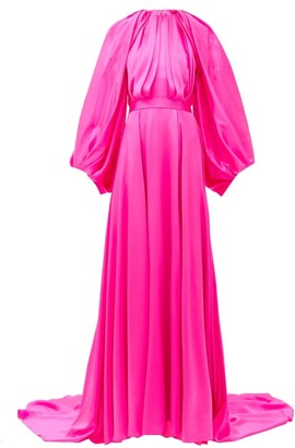 Halpern Balloon-sleeve Silk-satin Gown - Pink
