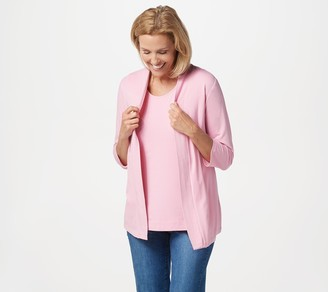 Denim & Co. Essentials Open Front Cardigan & Tank Set