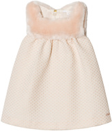 Chloé Pink and White Lurex Jacquard and Faux Fur Dress