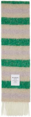 Acne Studios Green and Beige Alpaca Striped Scarf