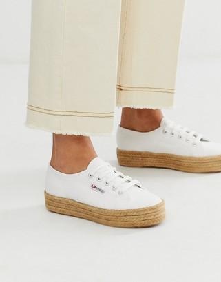Superga 2790 espadrille flatform sneakers in white