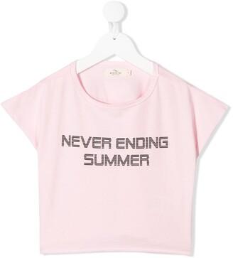 Andorine slogan-print cropped T-shirt