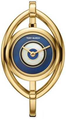 Tory Burch Evil Eye Goldtone Stainless Steel Bangle Watch